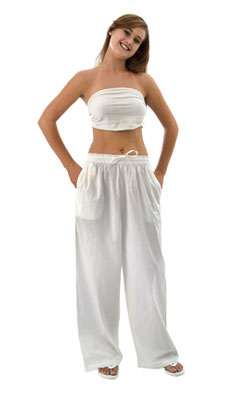 Cotton Drawstring Pants with Elastic Waist