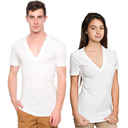 Sheer Jersey Short Sleeve Deep V-Neck (Unisex)