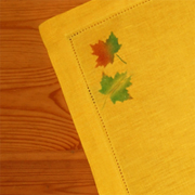 Autumn Linen Table Runner & Napkins with Shiva Paintstiks