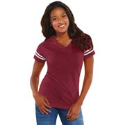 Ladies Football V-Neck Tee