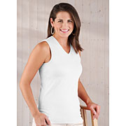 Ladies Jersey V-neck Sleeveless T-shirt (Feminine Fit Softee V-neck Sleeveless Tee #FFSVST)