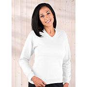 Ladies French Terry Crossover V-neck Pullover