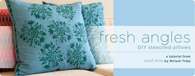 fresh angles diy stenciled pillows a mad mim tutorial. Black Bedroom Furniture Sets. Home Design Ideas