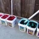 Soak in dye buckets for an hour