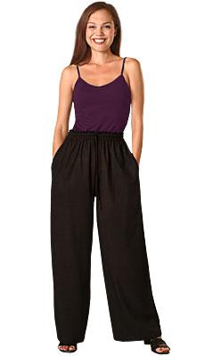 05873b2390308 Black Rayon Elastic Waist Drawstring Pants