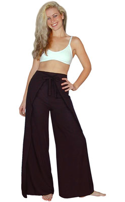 cfaf2ecbf948a Black Bali Rayon Wrap Pants