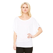 Bella Flowy Draped Sleeve Dolman T - White
