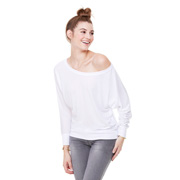 Bella Flowy Long Sleeve Off Shoulder T-Shirt - White