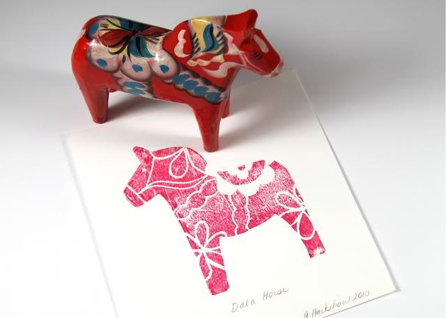swedish dala horse block print a lil blue boo tutorial